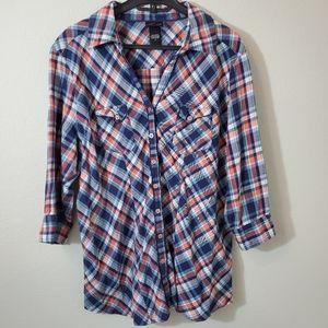 Torrid plaid button down quarter sleeve shirt